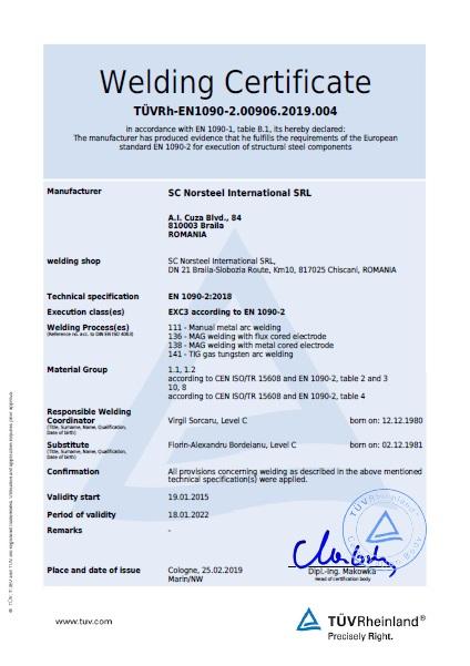 Welding Certificate EN 1090-2:2018